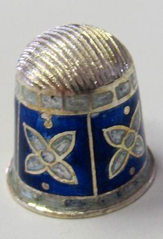 RP:  BLUE AND WHITE ENAMEL STERLING SILVER THIMBLE - ebay.com