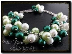 BRATARA PERLE DE STICLA ABL SIDEF COMBINATE CU PERLE IN NUANTE DE VERDE SIDEF 8MM Pearl Necklace, Jewels, Bracelets, Green, Jewelery, Bangle Bracelets, String Of Pearls, Pearl Necklaces