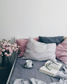 soft grey, navy and rose pink