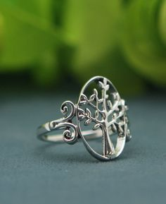 Detailed Tree of Life Sterling Silver Ring