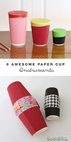 6 musical instruments all made from paper cups. This would be a fun rainy day DIY activity for kids.