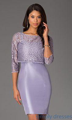 Short Sleeveless Dress with Matching Lace Jacket at SimplyDresses.com