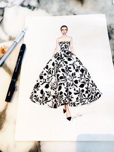 Oscar dela Renta #sketch #sketching #draw #drawing #fashion #fashionsketch #fashiondrawing #fashionillustrator #fashionillustration #fashionart #art #artwork #instaart #illustrator #illustration #eristran