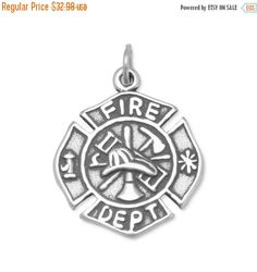 NOW ON SALE Firefighter Maltese Cross Charm by jewelrymandave