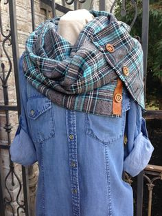 Soft and Cozy Turquoise Plaid Flannel Scarf with Hand Carved Buttons by BonnieBlueAngelaWood on Etsy