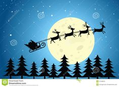 Illustration about Silhouette of Santa and reindeer flying in front of the moon and over the tree-tops. Illustration of trees, santa, festive - 27528876 Fly Drawing, Moon Drawing, Santa And His Reindeer, Reindeer And Sleigh, Santa On His Sleigh, Christmas Drawing, Christmas Paintings, Reindeer Drawing, How To Draw Santa
