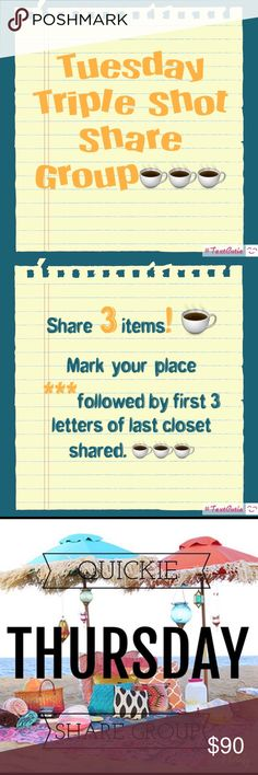 Tuesday ☕️☕️☕️ share group ☕️Share 3 for sale items from each closet!       ☕️No special requests please ☕️ Share times 5am to midnight your time.          ☕️ Sign up closed at 11 am Pacific (2ET). ☕️Let's have fun sharing!  If you have any questions please tag me @deesteinberg. ☕️☕️☕️Thank you for joining us today!  Reminder:  you need to be posh compliant to join this group. Members may skip you. ☕️☕️ ☕️.  Sign out when you are finished sharing!!!!!! Accessories
