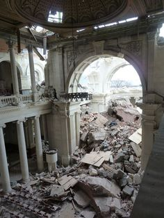 Earthquake damage to Christchurch Cathedral, New Zealand. The sanctuary end of the Cathedral