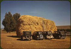 *Hay stack and automobile of peach pickers. Delta County, Colorado, 1940. Reproduction from color slide. Photo by Russell Lee. Prints and Photographs Division, Library of Congress