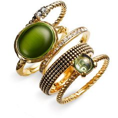 Ariella Collection Stacking Rings Green Multi/ Gold 8