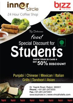 #Delicious #Food Special Discount for Students, Show Your ID Card & Get 50% Discount  #Punjabi #Chinese #Mexican #ItalianGrills #Tandoori #Asian #Students #Discount #Rajkot #Bizzthehotel #Offers #Deals   Call at - 02812473000