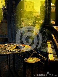 Abandoned western old town, viewed from inside the saloon, where the dust flying through broken windows invade the tables and a an old damaged piano.  Hardly perceptible, the ghost of the pianist and his hand  touching  the keyboard, is visible between the grains of flying sand.