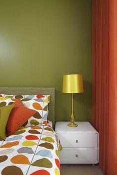 Green Room Decor orange & green boy's bedroom design with orange & green painted