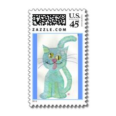 blue funny cat stamp