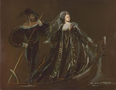 Early sketch for the arrival of Lucrezia ( Dame Joan Sutherland) at the Venetian masked ball. Lucrezia Borgia, Covent Garden, 1980.