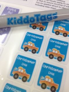 #kiddotags personalized washable labels. New truck collection. #cute #boy #labels . Stick it. Tag it. Find it. Kiddotags.com