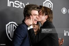 Actors Joe Keery, Natalia Dyer and Charlie Heaton attend the 18th Annual Post-Golden Globes Party hosted by Warner Bros. Pictures and InStyle at The Beverly Hilton Hotel on January 8, 2017 in Beverly Hills, California.