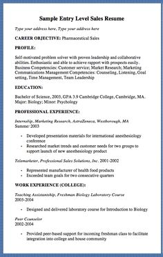 Entry Level Pharmaceutical Sales Resume Sample  Yeet