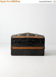 SALE antique dome top trunk metal covered travel trunk (300.00 USD) by 86home