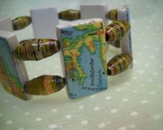 map and paper beads bracelet
