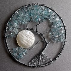 Silver and Light Blue Tree of Life pendant