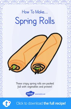 Celebrate the Chinese New Year with your children by making some delicious spring rolls. Our handy pack includes a list of the ingredients, equipment and simple step-by-step instructions which are easy for children to follow. Click to download and find more child-friendly cooking ideas over on the Twinkl website. #springrolls #chinesenewyear #chinesefood #chinesecooking #teachingresources #teacher #twinkl #twinklresources #parents #homeschooling #cookingwithkids #recipes #chineserecipe Color Activities, Writing Activities, Cooking With Kids, Cooking Ideas, New Year Captions, Chinese Spring Rolls, New Year's Snacks, Chinese New Year Dragon, Mindfulness Colouring