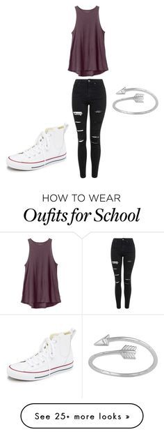"""Casual school"" by mirornelas on Polyvore featuring RVCA, Topshop, Converse, women's clothing, women, female, woman, misses and juniors"