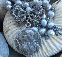 Warrior      Joan of Arc Assemblage Necklace by HappyMoonDesigns, $140.00