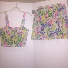 NWT Colorful Crop Top Skater Skirt Co-Ord Set Bought from TJ Maxx, Brand new, never been worn. Super cute but, bought a bunch of clothes for a vacation and never had an occasion to wear it. Size L top and bottom. Paper Crane Dresses Mini