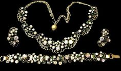 Florenza Rhinestone Necklace Bracelet Earrings by EclecticVintager
