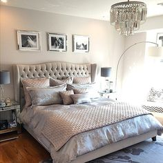 """I absolutely love this bedroom design... I would just add a pop of color! """"Bedroom bliss: our Jameson Bed & Luxe Chandelier are textured & tasteful in @tgents25's home."""
