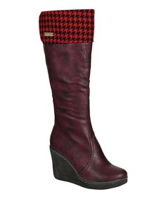 Take a look at this Burgundy Ann Wedge Boot on zulily today!