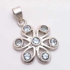 Natural Handmade Blue Topaz Gemstone 925 Sterling Solid Silver Pendant Jewelry #Handmade #Pendant