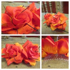 Your place to buy and sell all things handmade Shoe Nails, Tequila Sunrise, Pin Up Outfits, Beautiful Roses, Gold Accents, Easy Hairstyles, Special Occasion, Hair Styles, Flowers