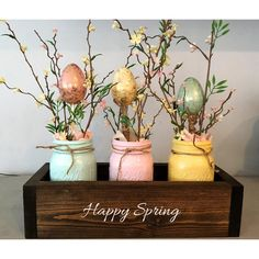 Easter Table Decor Mason Jar Decor Spring Centerpiece Mantle Decor... ($14) ❤ liked on Polyvore featuring home, home decor, holiday decorations, grey, home & living, home décor, vases, wood planter box, wooden home decor and floral centerpieces