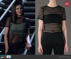 Lindy's sheer striped tee on Eye Candy.  Outfit Details: http://wornontv.net/42916/ #EyeCandy