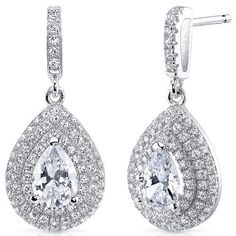 Peora.com - Sterling Silver Pear White Cubic Zirconia Earrings SE8300, $69.99 (http://www.peora.com/sterling-silver-3-row-pear-white-cubic-zirconia-earrings-se8300/)