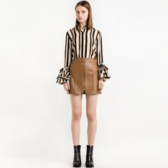 Women Flare Sleeve Female Single Button Striped Shirts