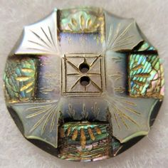 Gorgeous LARGE Antique~ Vtg Heavily Carved Abalone Shell BUTTON Incised Luster