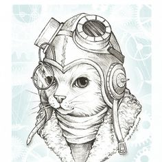 Steampunk Cat with Goggles and Gears by Iktomi