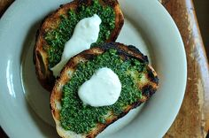 Grilled Bread with Thyme Pesto and Preserved Lemon Cream   http://food52.com/recipes/5014-grilled-bread-with-thyme-pesto-and-preserved-lemon-cream