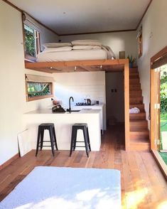 14 Impressive Tiny House Design Ideas That Maximize Function and Style Tiny House Living Room Design Function House Ideas Impressive Maximize Style Tiny Tiny Spaces, Small Apartments, Loft Spaces, Studio Apartments, Tiny House Living, Tiny House With Loft, Loft House, Tiny Loft, Tiny House Stairs