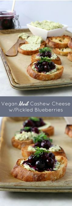 Vegan Herb Cashew Cheese with Pickled Blueberries - Eat. Drink. Shrink. Cashew Cheese, Vegan Cheese, Good Healthy Recipes, Happy Tuesday, Vegan Snacks, Cheese Recipes, Fresh Herbs, Blueberries, Blueberry
