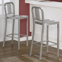 @Overstock - Create extra seating in impeccable style with these modern silver metal bar stools. The set of two stools are scratch and mar resistant, have comfortably contoured seats, and at 30' tall, are just the right height for most standard bars.http://www.overstock.com/Home-Garden/Silver-Metal-Bar-Stools-Set-of-2/5954040/product.html?CID=214117 $199.99