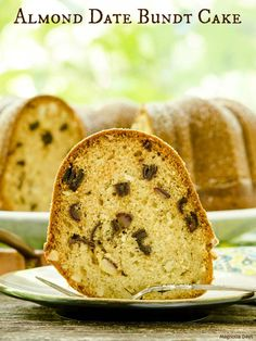Almond Date Bundt Cake is lightly spiced with cinnamon, cardamom, and nutmeg. It's a moist cake with the sweetness of dates and crunch of almonds.
