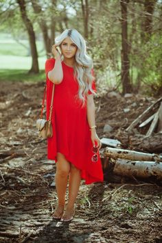 Beautiful look, featuring a bright red dress and whimsy sandals.