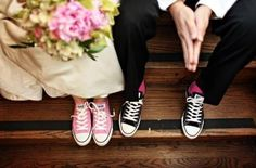 Make your wedding different and think outside the box. Use alternatives that are unique to you as a couple. Walk down the isle in Converse