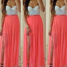 strapless skirt white top lace crop tops peach maxi skirt skirt strapless