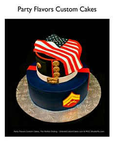 Semper Fi cake design by Party Flavors Custom Cakes. Wedding Cake Designs, Wedding Cake Toppers, Wedding Cakes, Marine Corps Cake, Packers Cake, Funeral Reception, Military Cake, Military Decorations, Gifts For Hubby
