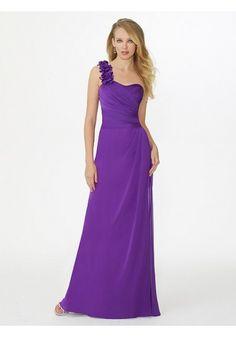 Chiffon Pleating A Line Purple Wedding Guest/Bridesmaid Dress